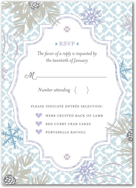 Signature white wedding response cards, Bohemian Winter