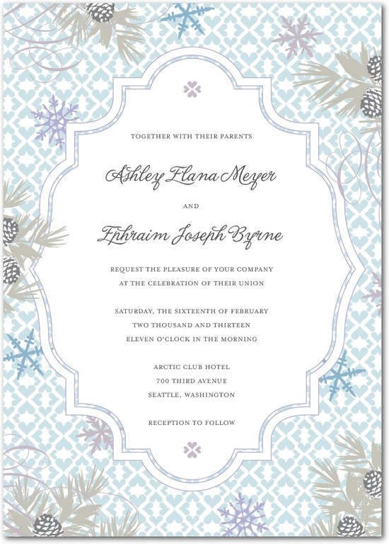 Signature white wedding invitations, Bohemian Winter