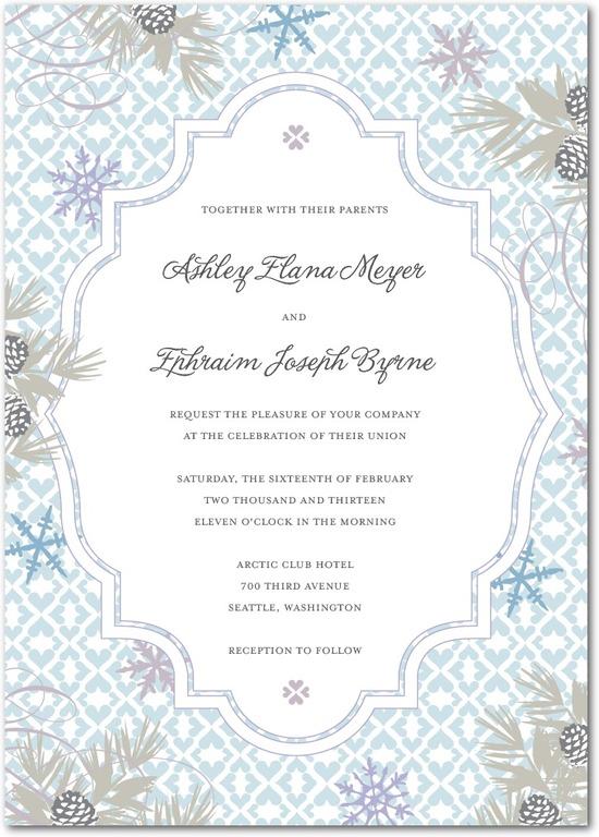 photo of Signature white wedding invitations, Bohemian Winter