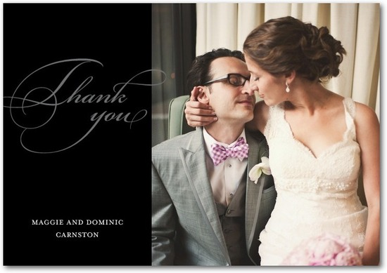 Signature white thank you cards, Opulent Script