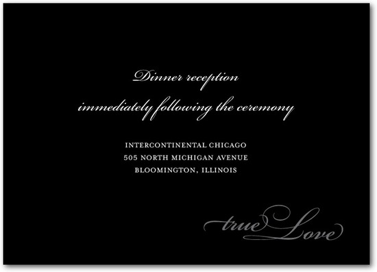 Signature white wedding reception cards, Opulent Script