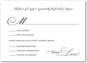 photo of Signature white wedding response cards, Opulent Script