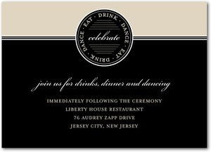 photo of Signature white wedding reception cards, Sealed Squares