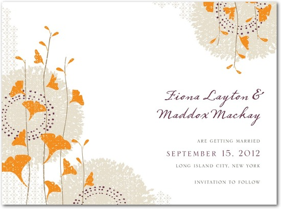 Signature white save the date cards, Graceful Ginkgo