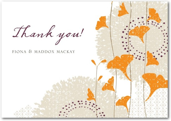 Signature white thank you cards, Graceful Ginkgo