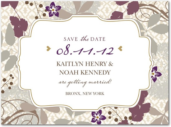 Signature white save the date cards, Bohemian Fall
