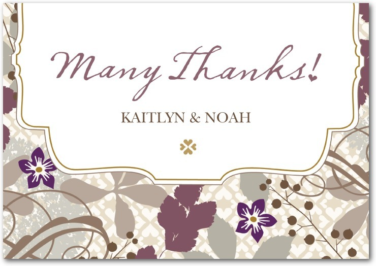 Signature white thank you cards, Bohemian Fall