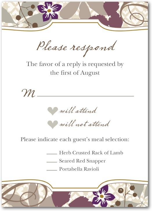 Signature white wedding response cards, Bohemian Fall
