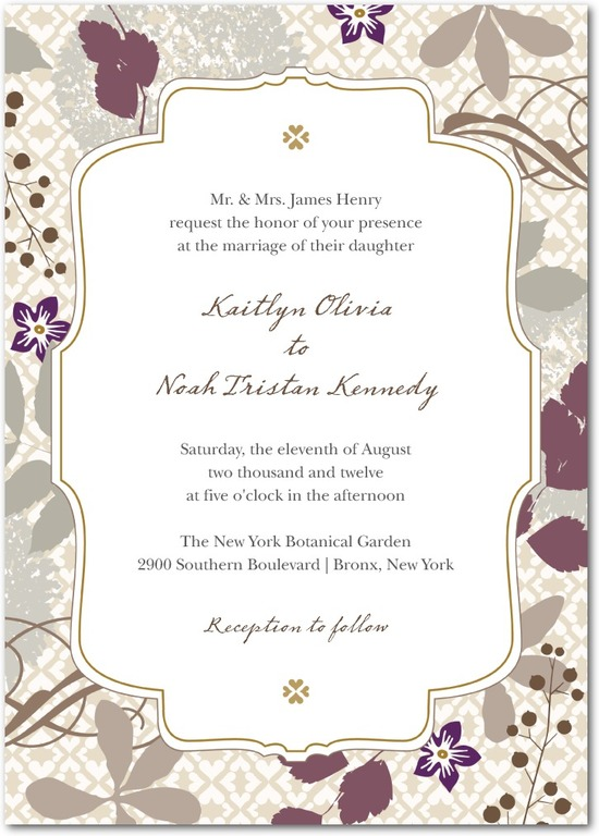 Signature white wedding invitations, Bohemian Fall