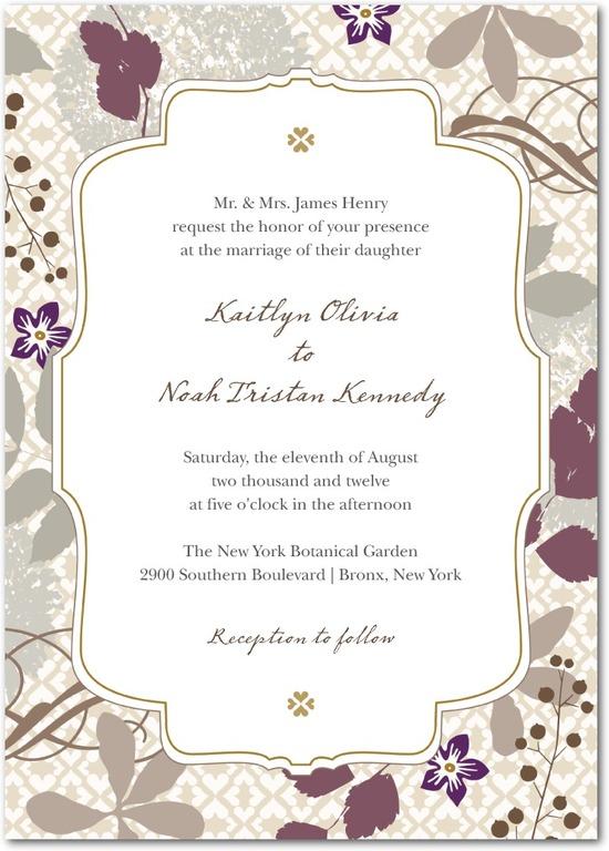 photo of Signature white wedding invitations, Bohemian Fall