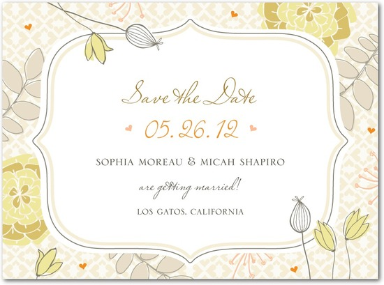 Signature white save the date cards, Bohemian Spring