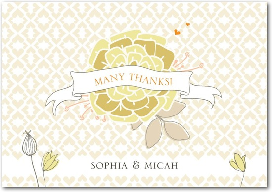 photo of Signature white thank you cards, Bohemian Spring