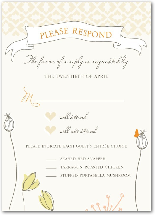 Signature white wedding response cards, Bohemian Spring