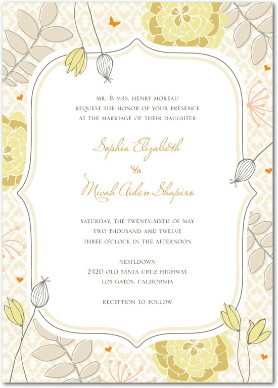 Signature white wedding invitations, Bohemian Spring