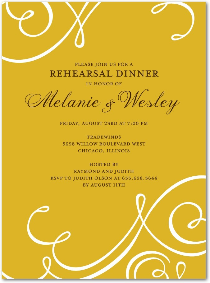 photo of Signature white rehearsal dinner invitations, Flourish Focus
