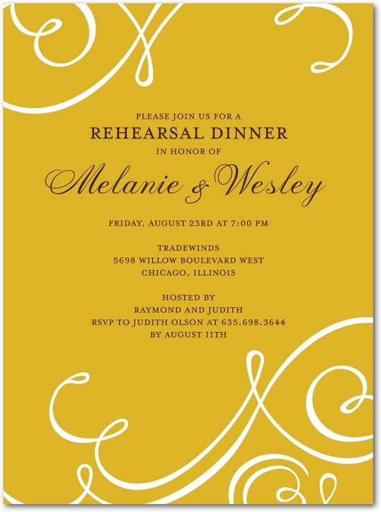 Signature white rehearsal dinner invitations, Flourish Focus