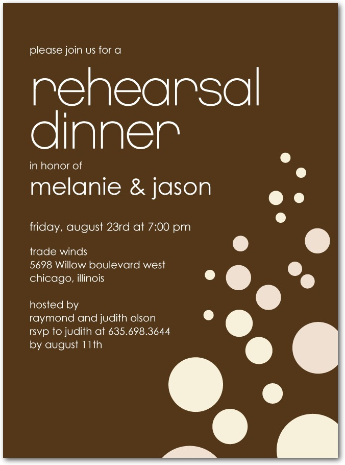 photo of Signature white rehearsal dinner invitations, Lovely Bubbly