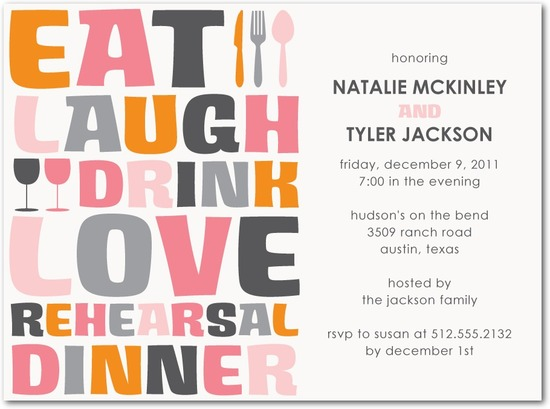 Signature white textured rehearsal dinner invitati, Big Type