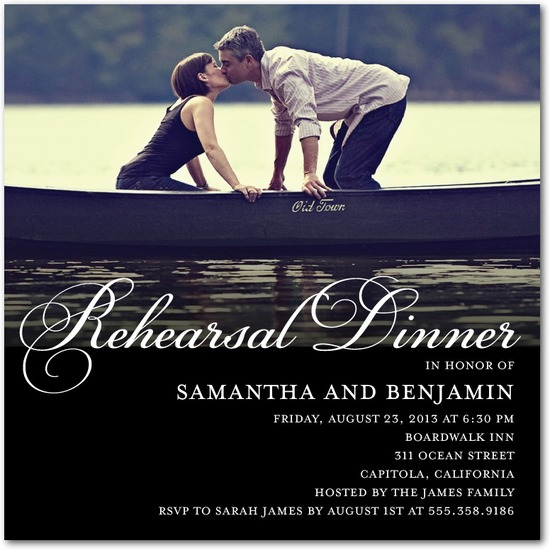 Signature white photo rehearsal dinner invitations, Refined Rehearsal