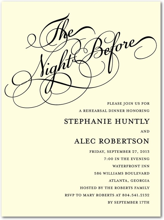 Signature ecru rehearsal dinner invitations, Wedding Eve