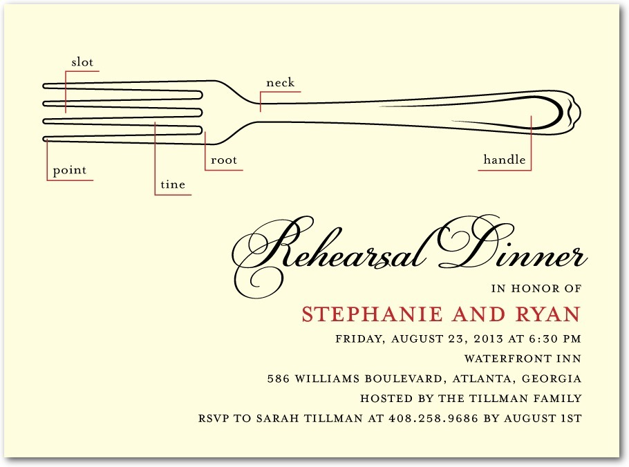 Signature ecru rehearsal dinner invitations, Stylish Schematic