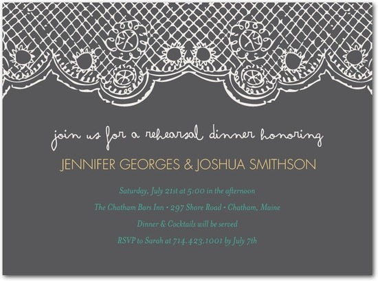 photo of Signature white rehearsal dinner invitations, Delightful Doily