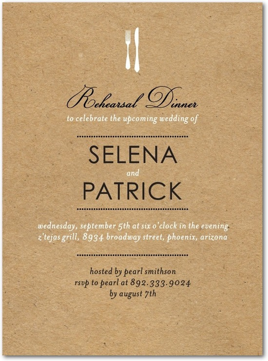 Signature white rehearsal dinner invitations, On the Menu