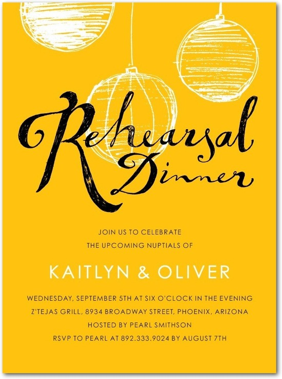 Signature white rehearsal dinner invitations, Charming Lanterns