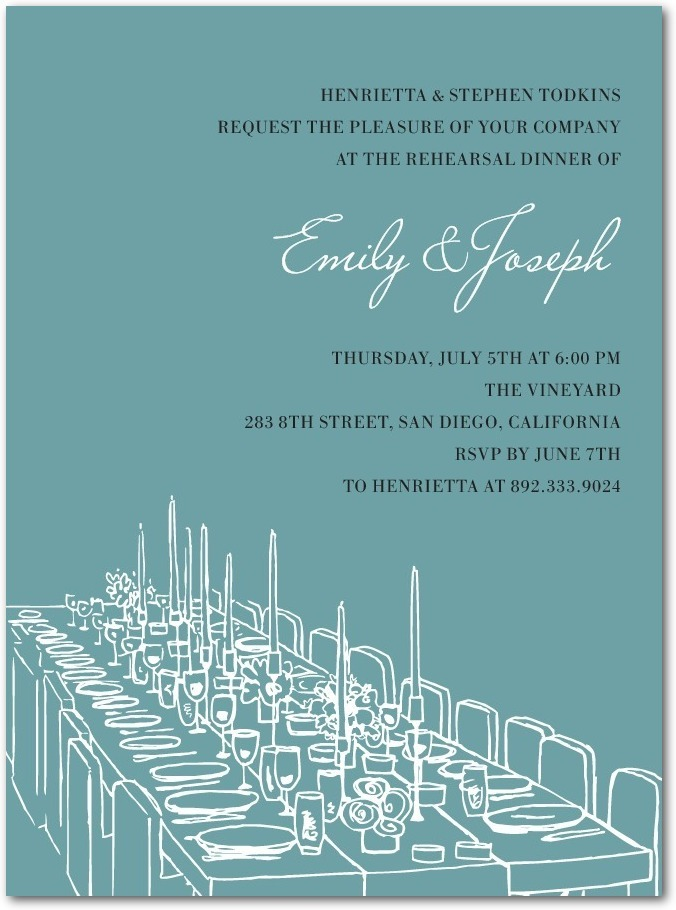 Signature white rehearsal dinner invitations, Formal Feast
