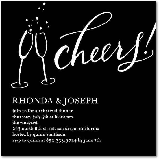 Signature white rehearsal dinner invitations, Cheers Contrast