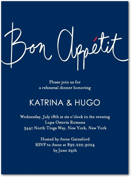 Signature white rehearsal dinner invitations, Good Appetite