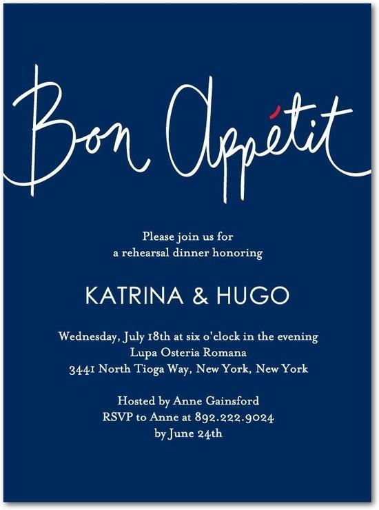 photo of Signature white rehearsal dinner invitations, Good Appetite