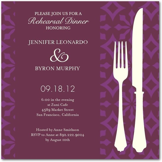 Signature white rehearsal dinner invitations, Patterned Style