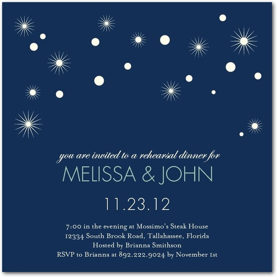 Signature white rehearsal dinner invitations, Sweetly Sparkling