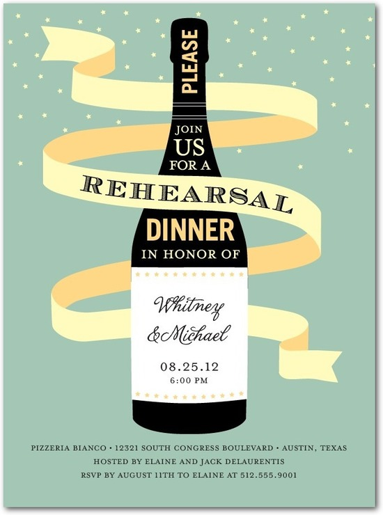 Signature white rehearsal dinner invitations, Magnum Celebration