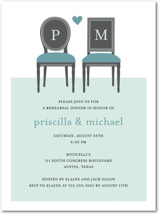 Signature white rehearsal dinner invitations, Chair Pair