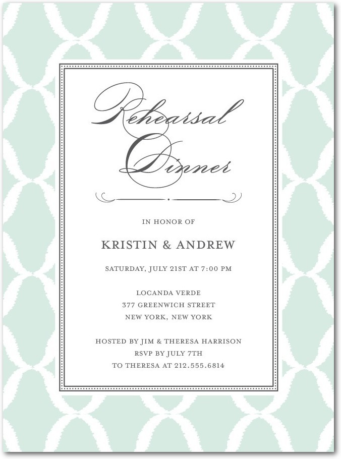 Signature white rehearsal dinner invitations, Formal Lattice
