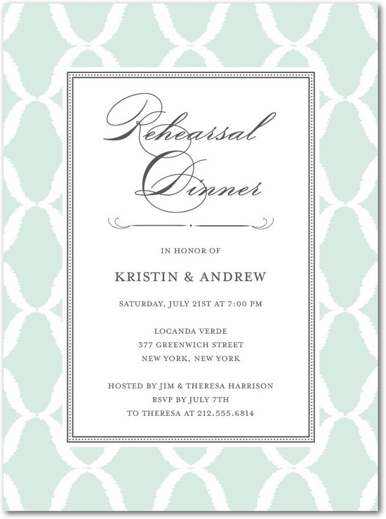 photo of Signature white rehearsal dinner invitations, Formal Lattice