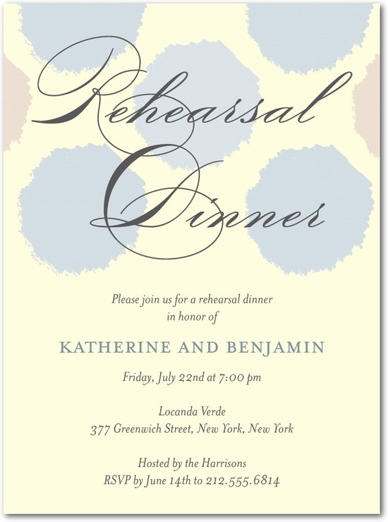 Signature ecru rehearsal dinner invitations, Soft Swatches