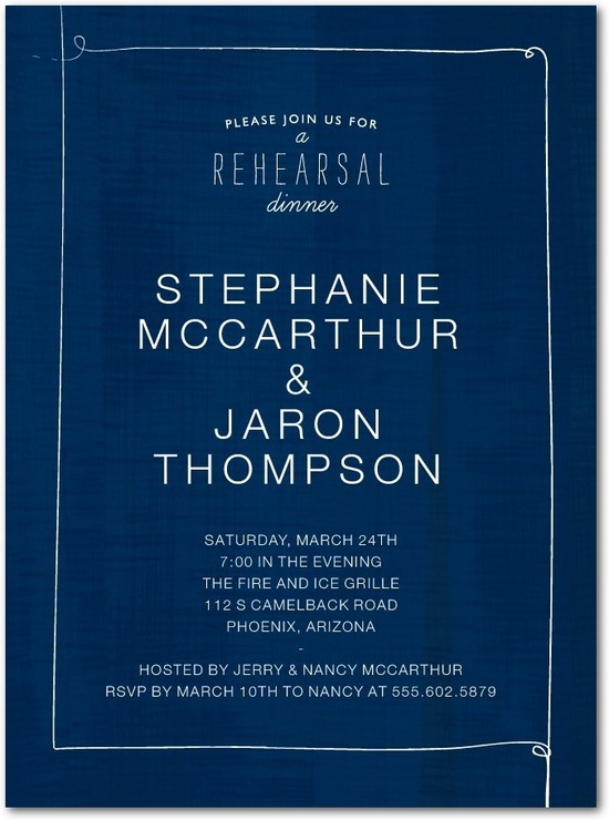 Signature white rehearsal dinner invitations, Lovely Linen