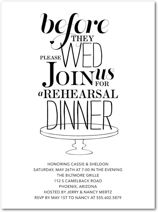 Signature white textured rehearsal dinner invitati, Stylish Stand