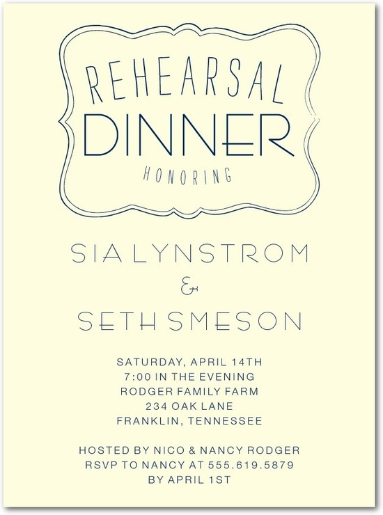 Signature ecru rehearsal dinner invitations, Delightful Evening