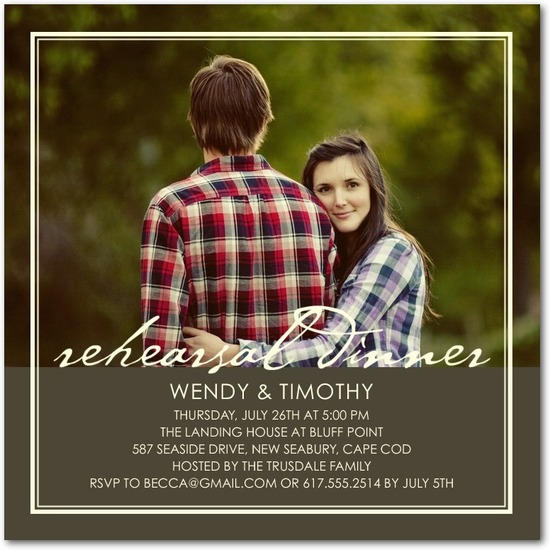 Signature white photo rehearsal dinner invitations, Sleek Frame