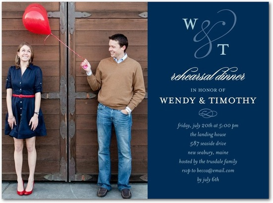 photo of Signature white photo rehearsal dinner invitations, Photo Monogram