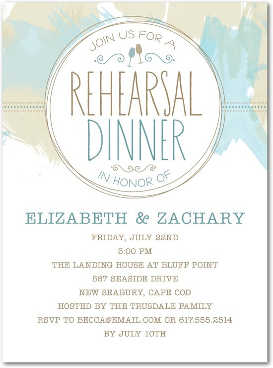 Signature white rehearsal dinner invitations, Soft Brushstrokes