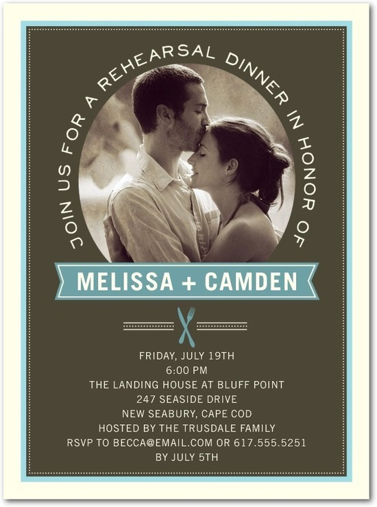 Signature white photo rehearsal dinner invitations, Distinctive Dining