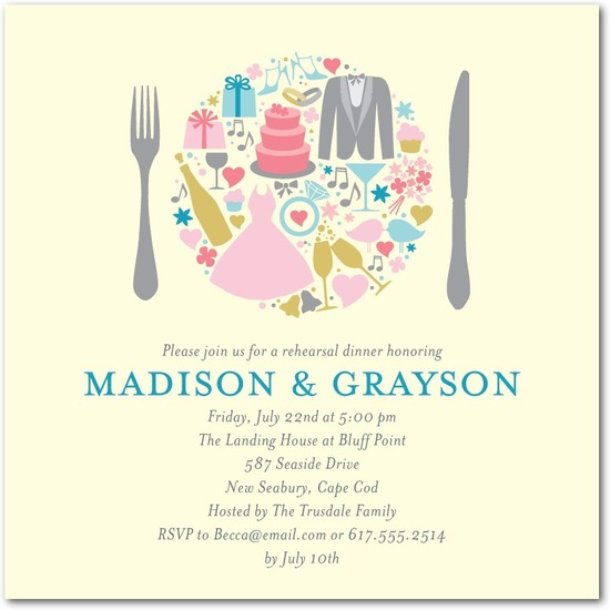 Signature ecru rehearsal dinner invitations, One Plate