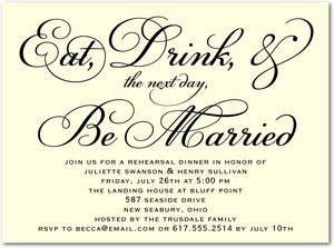 photo of Signature ecru rehearsal dinner invitations, Chic Celebration