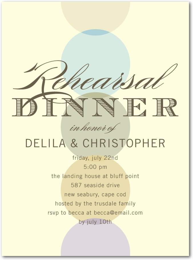 photo of Signature ecru rehearsal dinner invitations, Sheer Sophistication