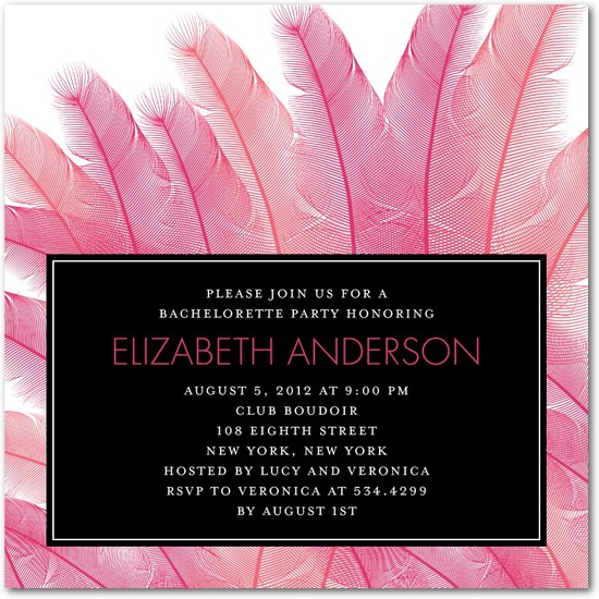 photo of Signature white party invitations, Fascinating Feathers